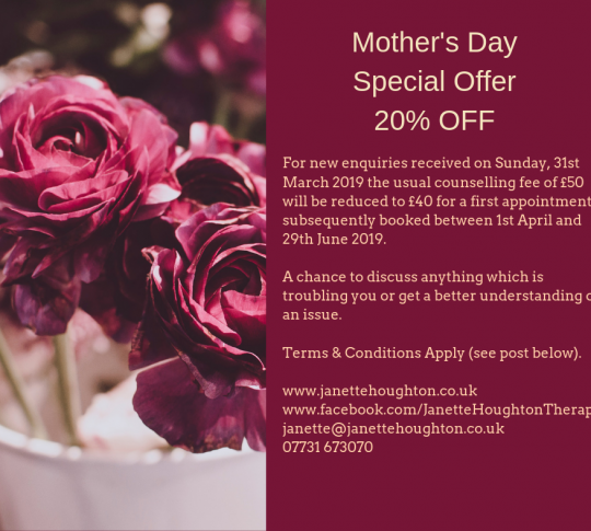 Mother's Day Special Offer with Janette houghton